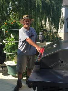 Dad and the Heppes Tower Garden July 2016