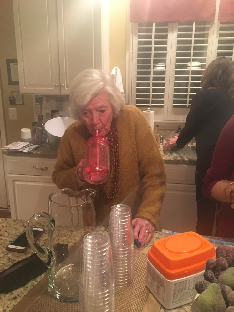 Ganmommy hydrating after the party January 2017